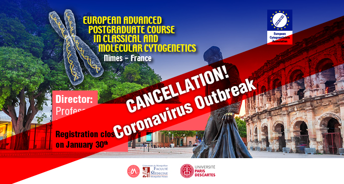 Cancellation of European Advanced Postgraduate Course in Classical and Molecular Cytogenetics 2020